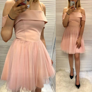 A Line Spaghetti Straps Pink Short Homecoming Dress With Ruffles 1405