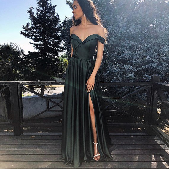 A Line Off The Shoulder Dark Green Prom Dress With Split 1410