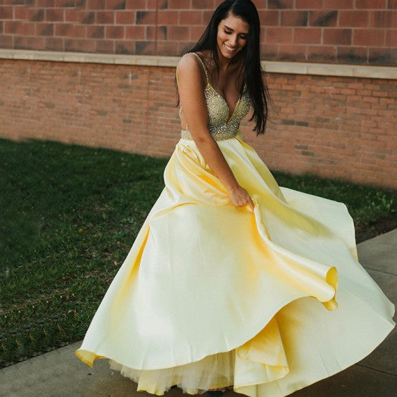 A Line Spaghetti Straps Backless Yellow Prom Dress With Beading 1414