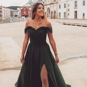 A Line Off The Shoulder Green Prom Dress With Aplliques Split 1415