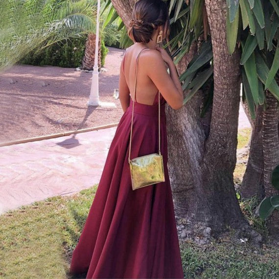 A Line Deep V Neck Backless Floor Length Burgundy Prom Dress 1416