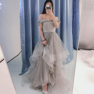 A-Line Off-the-Shoulder Floor-Length Grey Tiered Prom Dress with Beading 1419