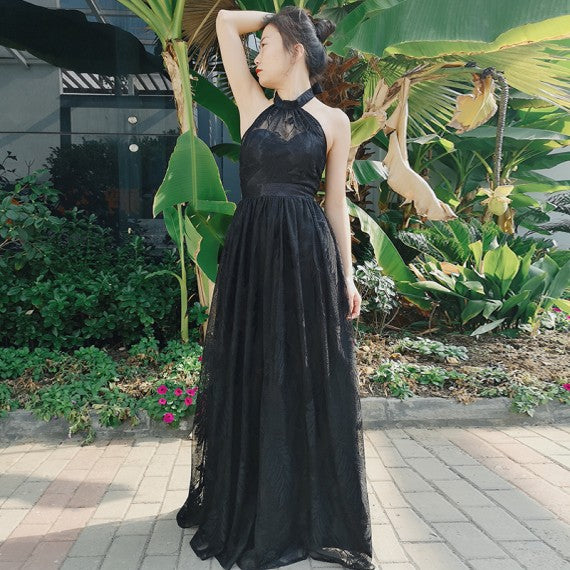 A-Line Halter Backless Floor-Length Black Lace Prom Party Dress 1420