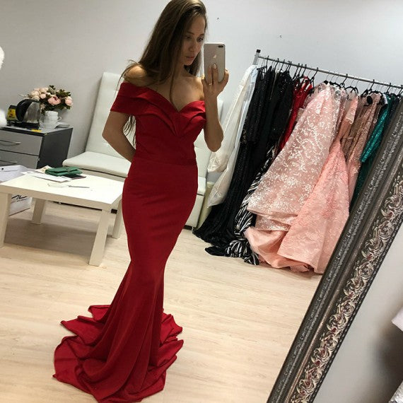 Mermaid Off-the-Shoulder Backless Sweep Train Red Prom Dress 1432