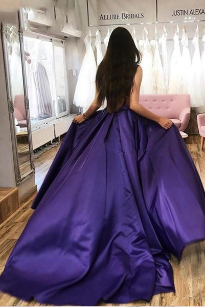 Straps Purple Strapless Long Prom Dresses Simple Split Evening Dress 1450
