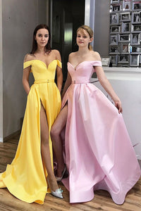 Simple sweetheart satin long prom dress evening dress 1453