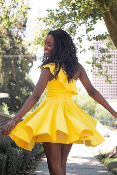 Simple yellow short prom dress, yellow homecoming dress 1456