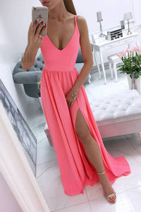 Simple v neck coral chiffon long prom dress, coral evening dress 1458