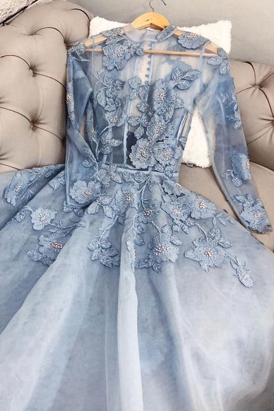 Blue lace tulle long prom dress, blue lace evening dress 1465