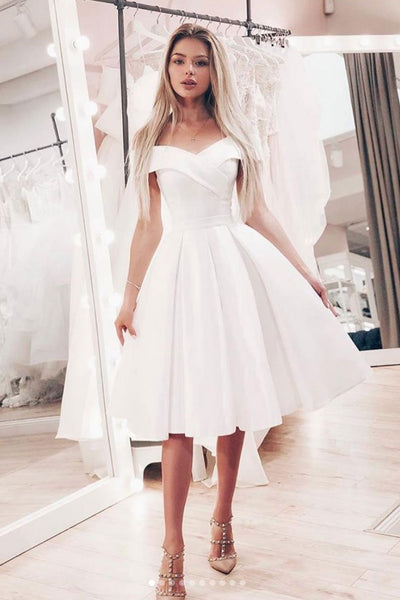 Simple white satin short prom dress, white bridesmaid dress 1470