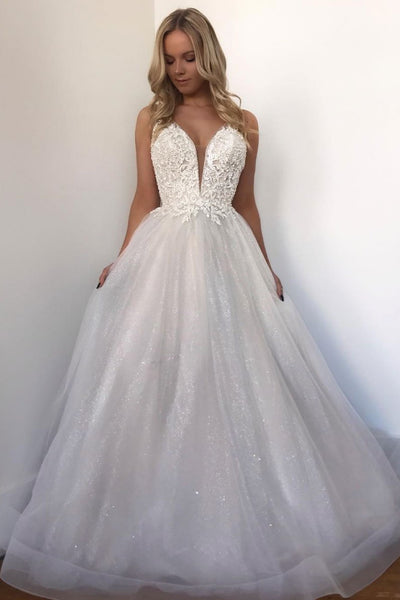 White sweetheart tulle lace long prom dress, white lace evening dress 1471