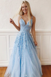 Blue v neck tulle lace long prom dress, blue tulle bridesmaid dress 1474