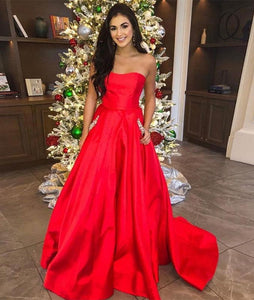 Red satin long prom dress, red satin evening dress 1483