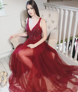 Burgundy v neck tulle sequin long prom dress, burgundy tulle evening dress 1485