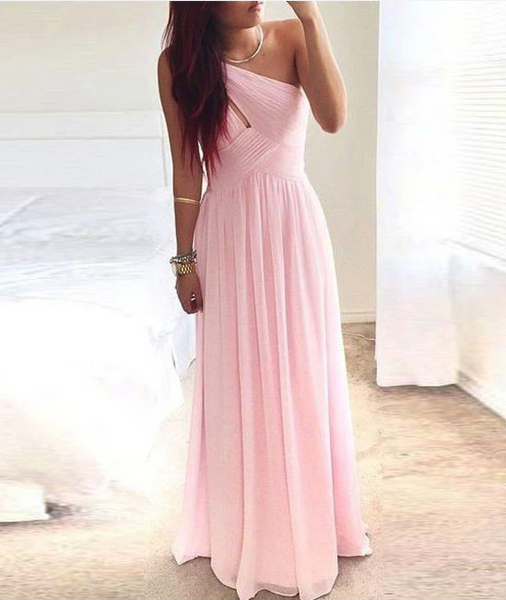 Simple Pink Chiffon One-Shoulder Long Prom Dress, Bridesmaid Dress 1495