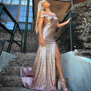 Mermaid Off The Shoulder Rose Gold Sequined Prom Dress With Split 1497