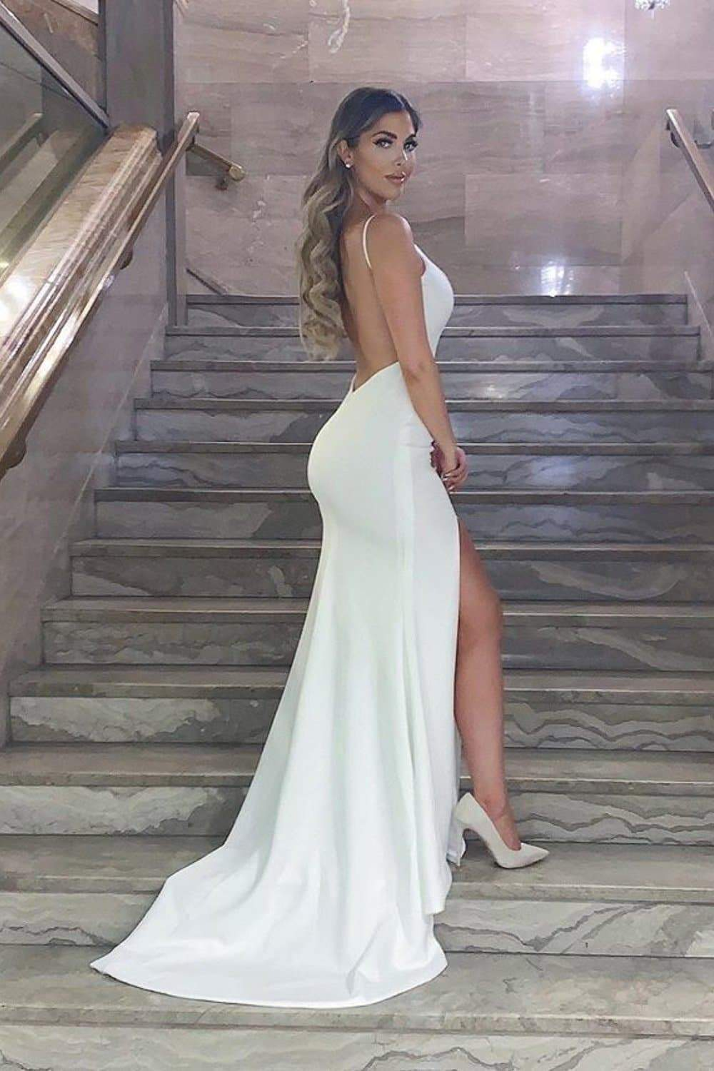 Hot Sexy Mermaid Spaghetti Straps White Long Prom/Evening Dress Backless 1502
