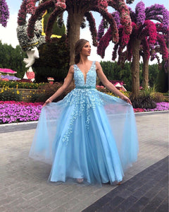 Glamorous A Line Deep V Neck Blue Long Prom/Evening Dress Appliques 1506