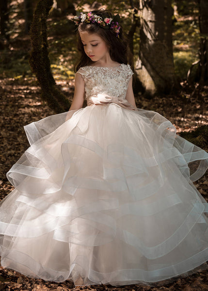 Pretty Organza Round Neckline Ball Gown Flower Girl Dress With 3D Lace Appliques & Beading & Belt, F0723