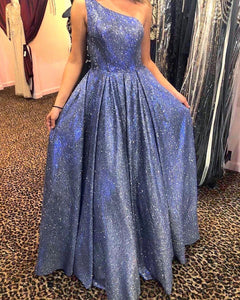 Bling Bling A Line One Shoulder Blue Long Prom/Evening Dress 1515