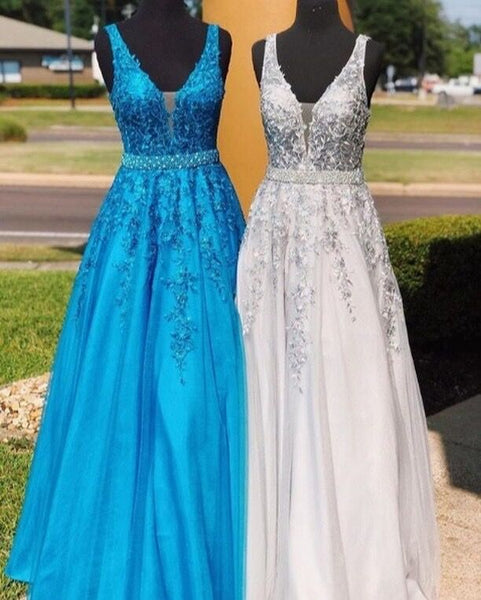 Glamorous A Line Deep V Neck Long Prom/Evening Dress Appliques Beading 1517