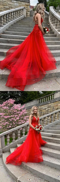 Red Tulle Cross Back Long Customize Prom Dress, Evening Dress 1522