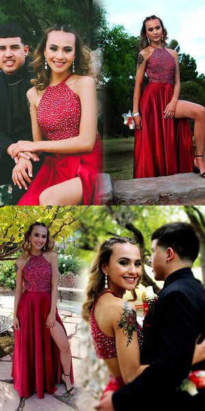 Gorgeous Beads Red Long Prom Dress with Side Slit 1543