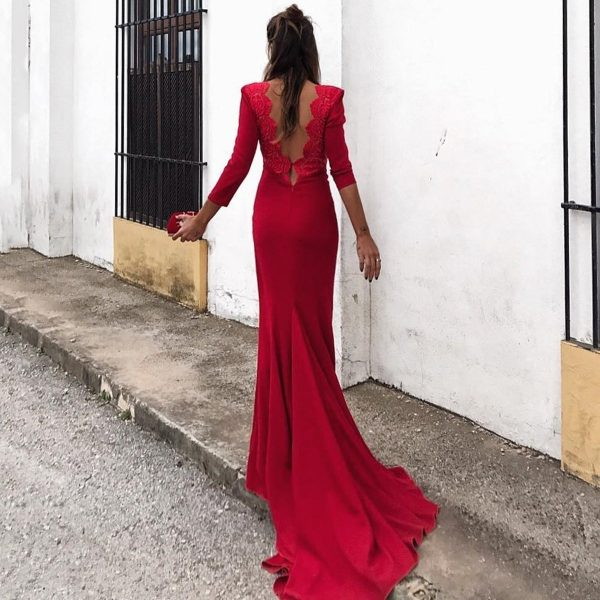 Sexy Red Long Sleeves Evening Dress Fishtail Maxi Dress 1563