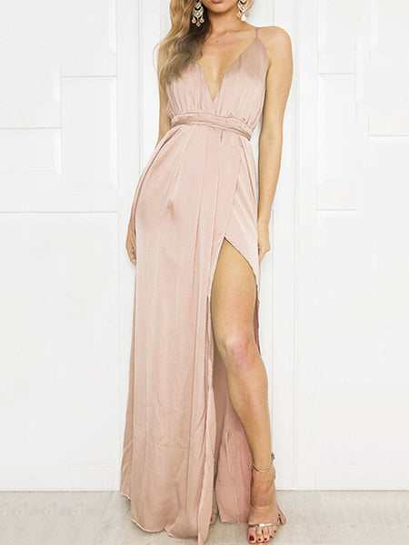 Spaghetti Strap Backless High Slit Plain Evening Dress 1566