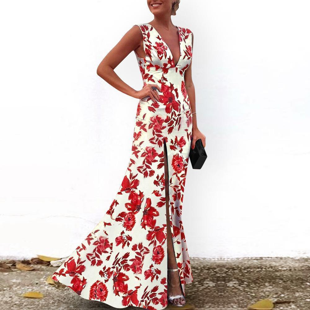 Sexy V-Neck Vintage Red Printed Evening Dress 1567