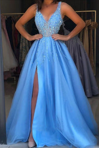 V Neck Slit Side Blue Prom Dresses with Beaded 1569