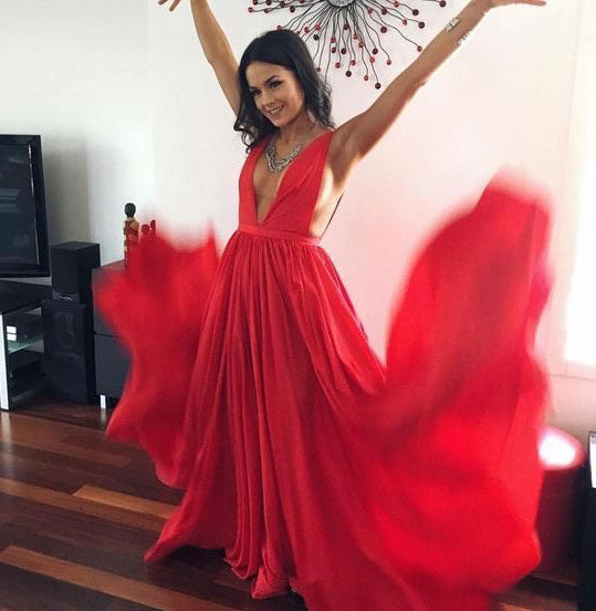 Deep V Neck Red Long Prom Dresses for Women 1586