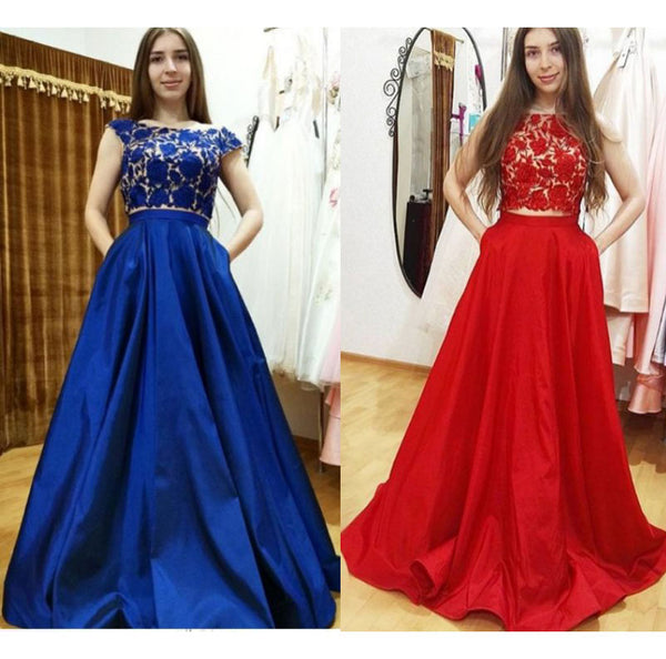 Sexy Royal Blue/Red Two Piece Prom Dresses with Pockets 1592