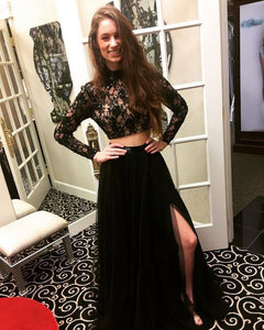 Sexy Two Piece Lace Tulle Black Long Prom Dresses with Long Sleeves 1593