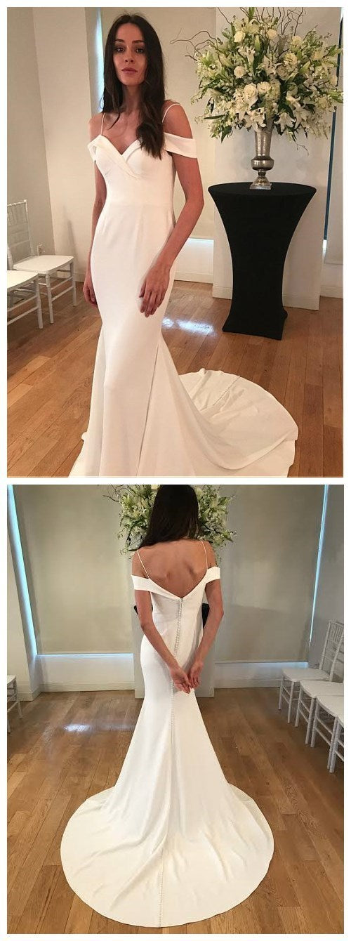 beautiful white off the shoulder full length fanshion dress spaghetti-straps v-neck long women dress satin floor length wedding dress 1601