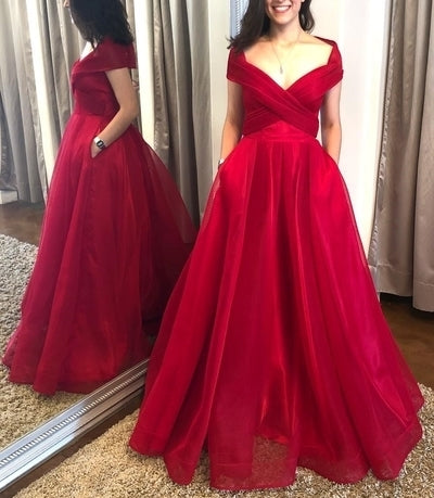Off the Shoulder Red Formal Dress with Pockets 1602