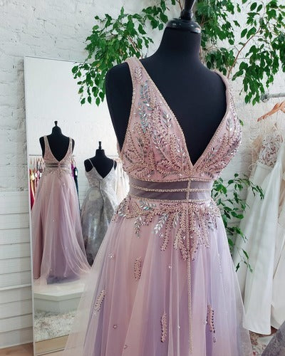 Beaded Lilac Tulle Long Prom Dress 1604