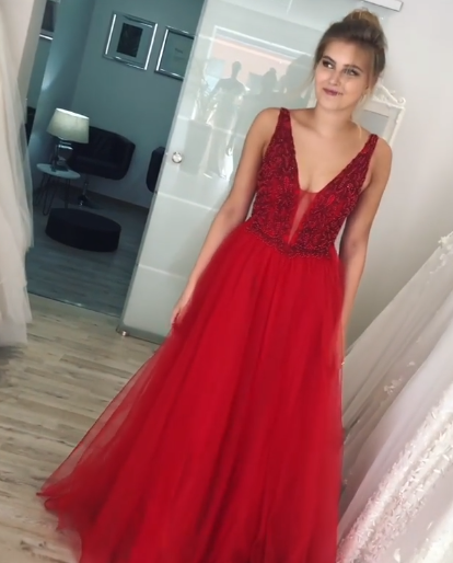 Red Prom Dress,Charming Evening Dress,Prom Dresses 1610