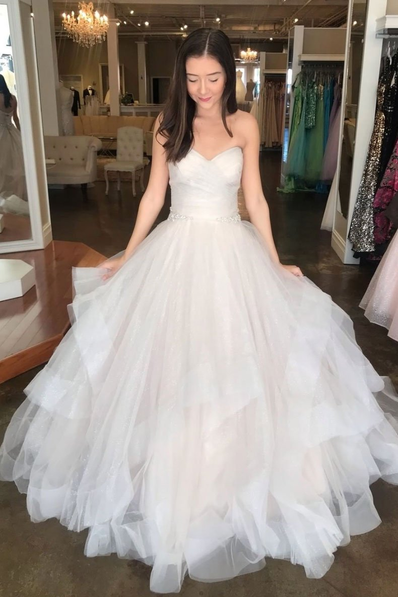 Light champagne sweetheart tulle long prom dress tulle formal dress 1612