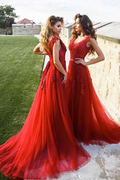 Burgundy v neck tulle lace long prom dress burgundy bridesmaid dress 1624