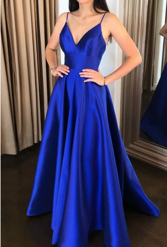 Simple v neck blue satin long prom dress blue evening dress 1628