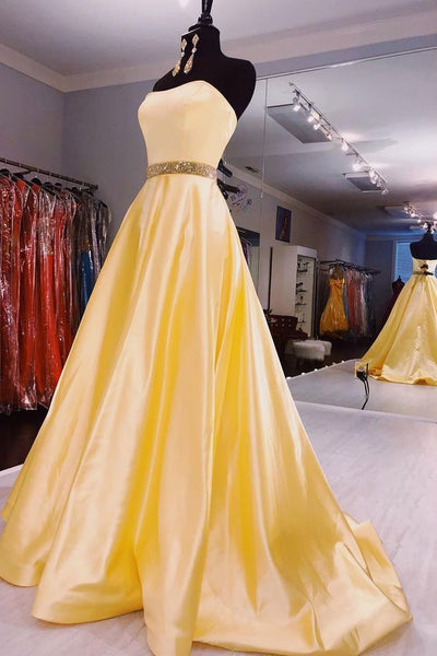 Strapless Beaded Waist Daffodil Long Prom Dress 1632