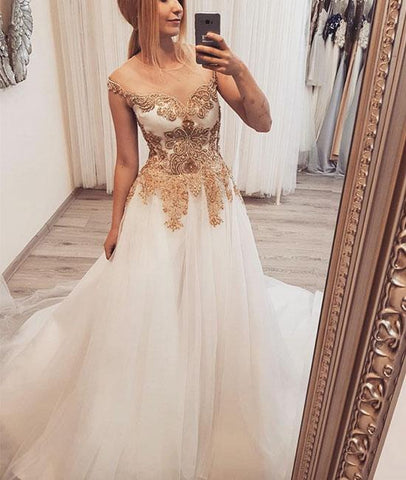 White round neck tulle lace applique long prom dress, white evening dress 1634