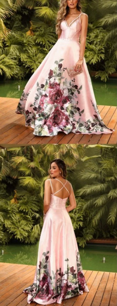 Pink Satin Floral Prints Spaghetti Strap A-Line Prom Dresses 1651