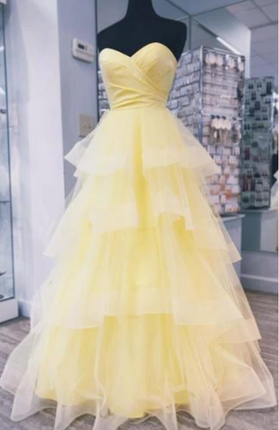 Sweetheart neck Tulle Yellow Layered Prom Dress, Long Evening Dress, Formal Gown 1655