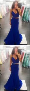 Sexy Two Piece Mermaid/Trumpet Royal Blue Lace Long Prom Dress 1656
