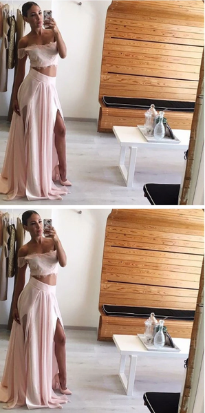 Lace Off Shoulder Prom Dress, Two Piece Chiffon Prom Party Dress, Long Slit Side Prom Dress 1658