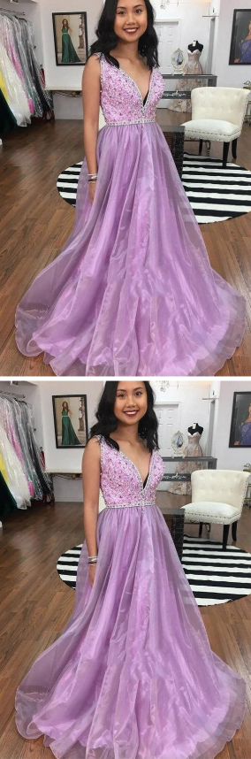 Gorgeous A-line Lilac Long Prom Dress Beading Party Gown 1660