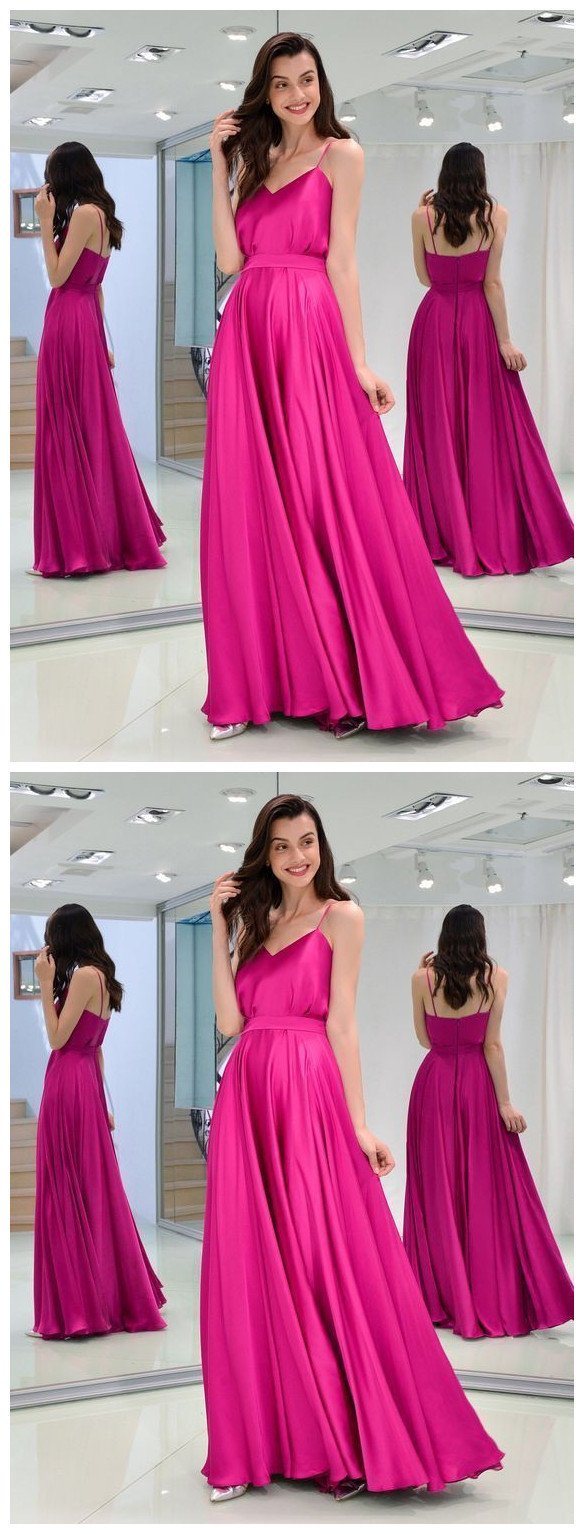 Charming A Line Sweetheart Spaghetti Straps Satin Fuchsia Long Prom Dresses, Formal Evening Party Dresses 1664