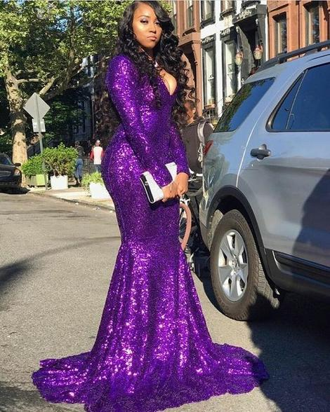 Sexy Sequins purple prom Dress, evening dresses 1671